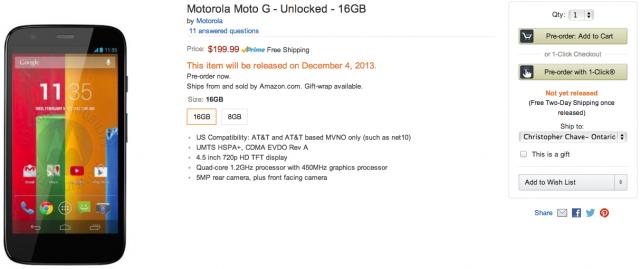 Motorola Moto G Preorder amazon