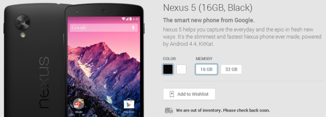 nexus 5 16GB black sold out