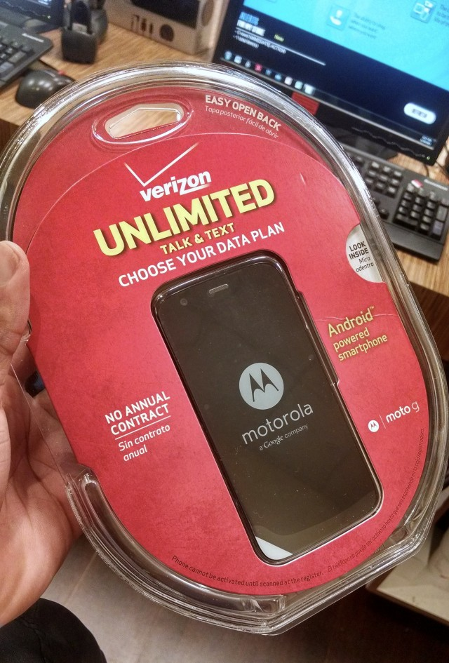 Moto G Verizon Wireless packaging