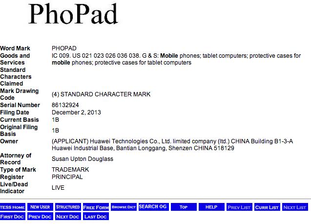 Huawei PhoPad Trademark