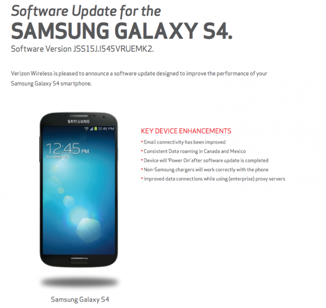 Verizon Galaxy S4 VRUEMK2 update