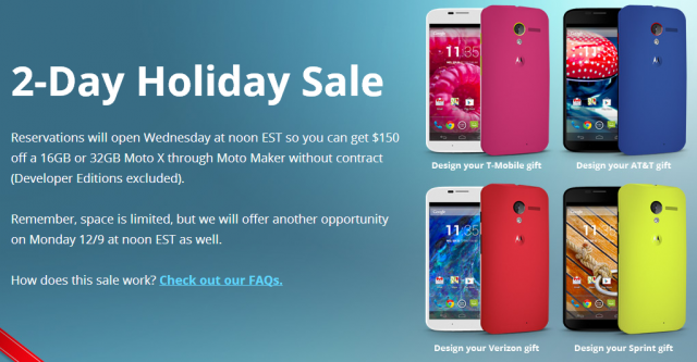 moto x holiday sale