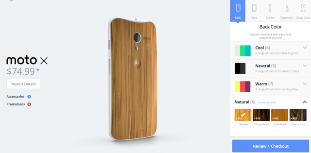 Moto X wood finishes Motomaker