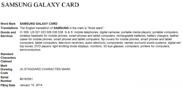 Samsung Galaxy Card trademark