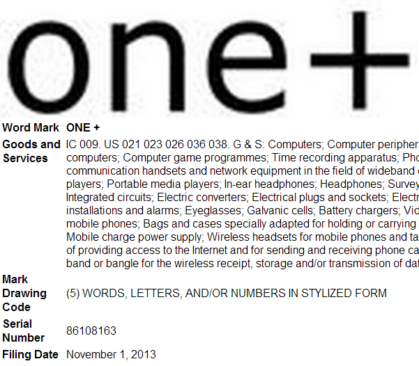 one plus trademark