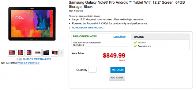 Samsung Galaxy Note Pro screenshot pre-order