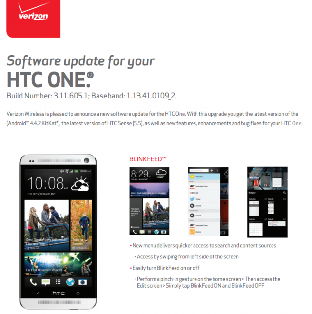 Verizon HTC One KitKat update