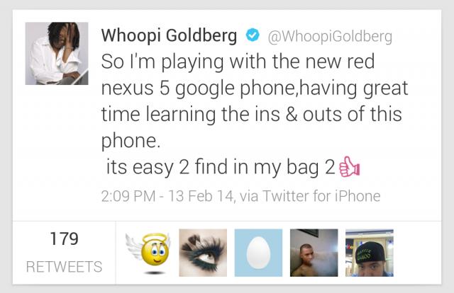 Whoopie Nexus 5 tweet