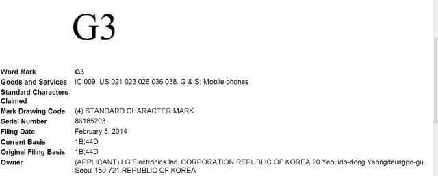 lg g3 trademark