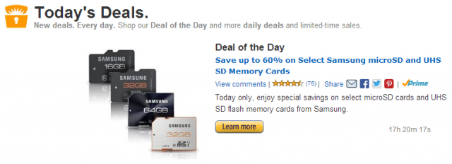 Amazon Gold box samsung sd cards