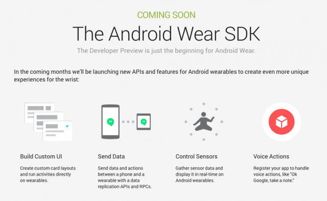 Android Wear SDK coming soon