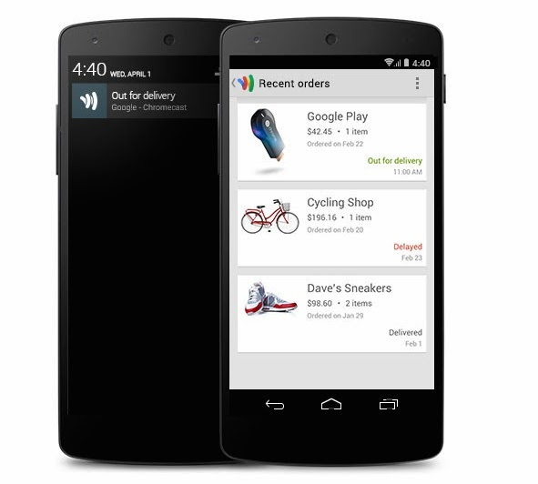 Google Wallet out for delivery package tracking
