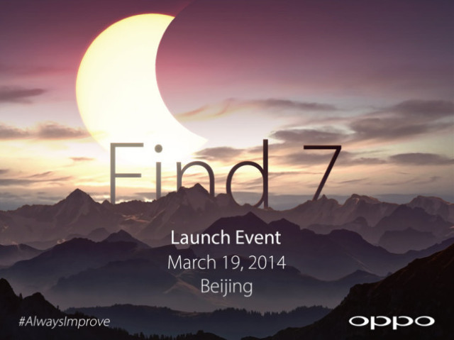 Oppo Find 7 launch on March 19 2014