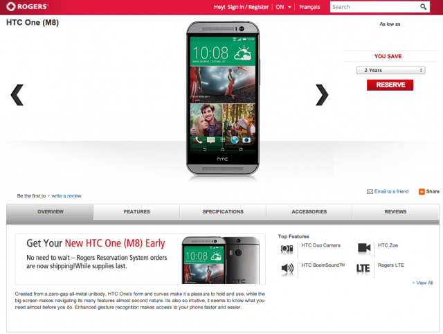 Rogers HTC One 2014