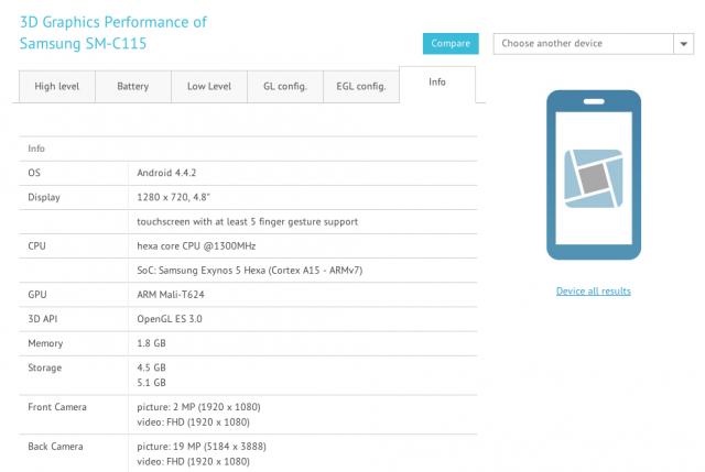 Samsung Galaxy S5 Zoom specs GFXBench 1