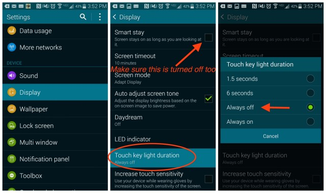 Galaxy S5 Touch key light duration