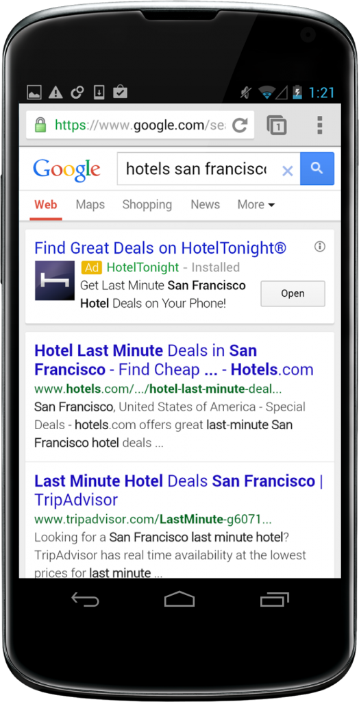 Google Search AdWords Install Ads