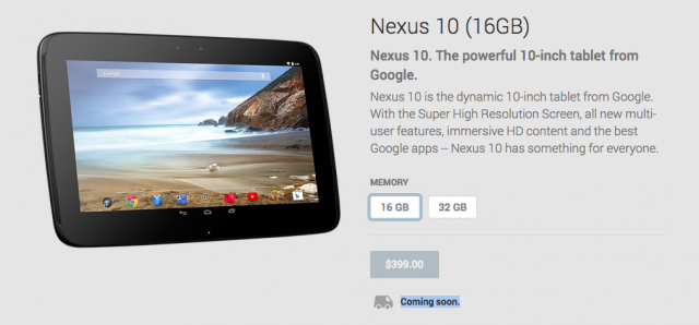 Nexus 10 coming soon Google Play