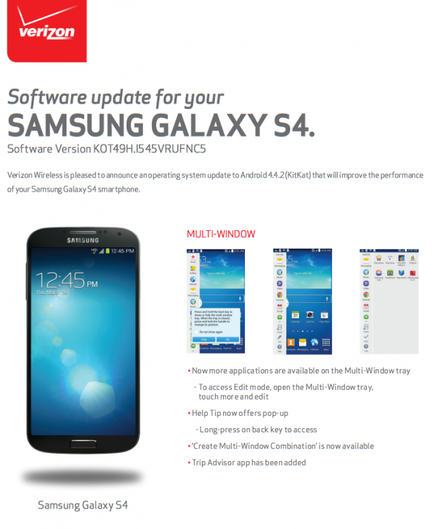 Samsung Galaxy S4 KitKat software update I545VRUFNC5