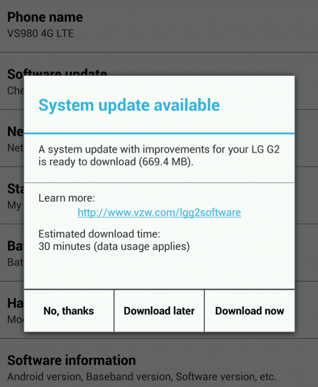 Verizon LG G2 KitKat OTA update