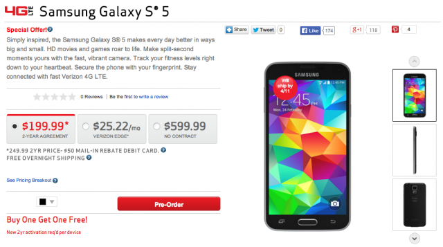 Verizon Samsung Galaxy S5 preorder