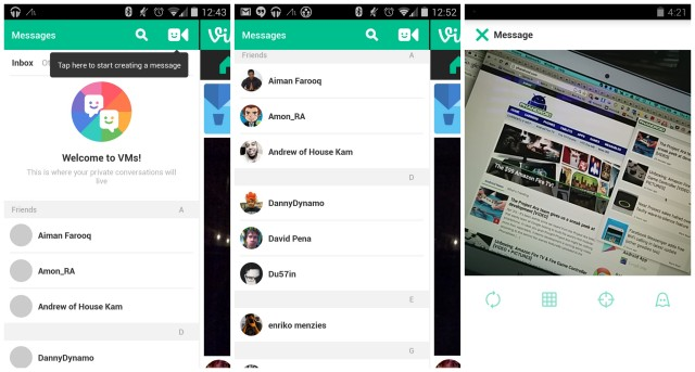 Vine VMs update direct messaging