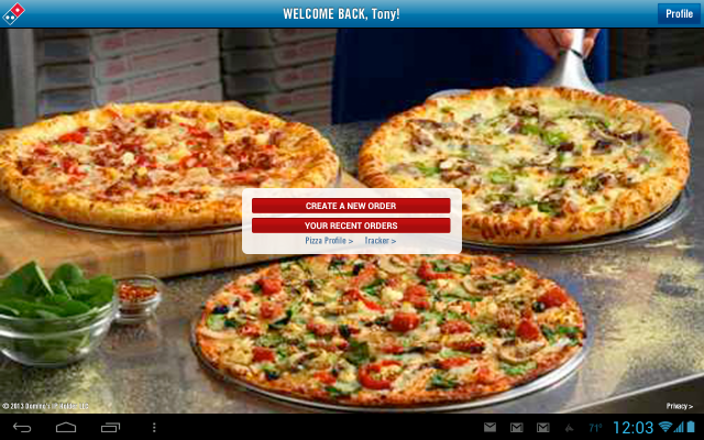 dominos tablet app