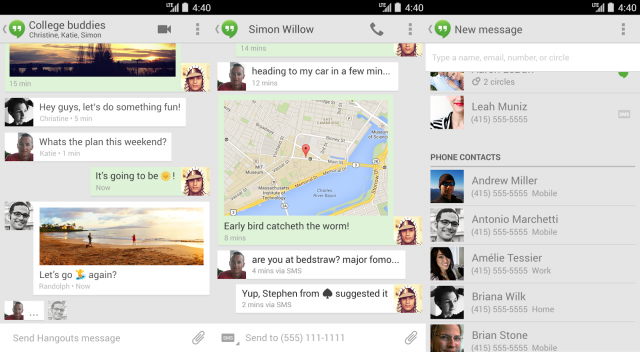 how to add contacts to hangouts android