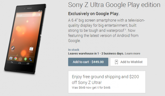 sony z ultra price cut