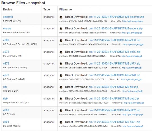 CyanogenMod-11-M6-builds-shapshot