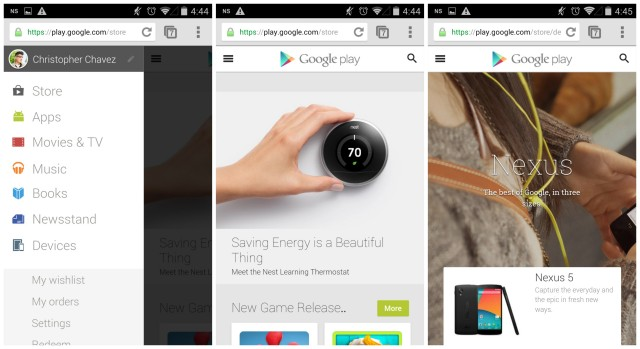 Google Play Store mobile web version