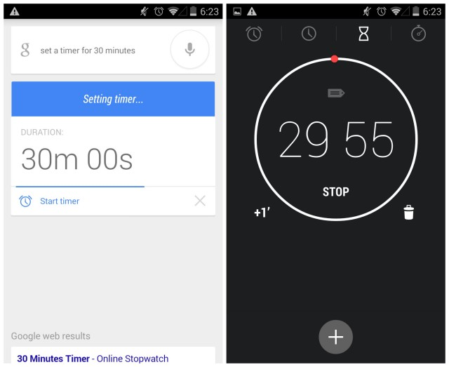 Google Search Now Voice actions timer update