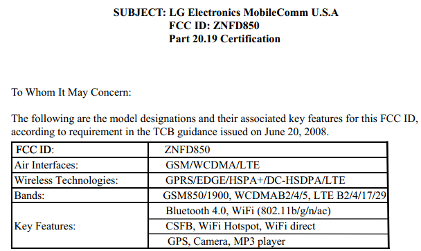 LG G3 D850 FCC certification