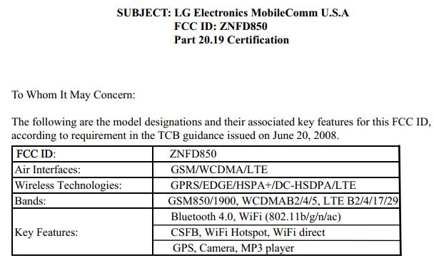 LG G3 D850 FCC certification