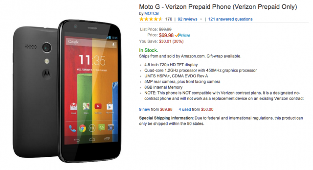 Moto G Amazon 70 bucks