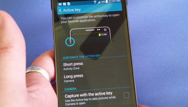 Samsung Galaxy S5 Active Key settings