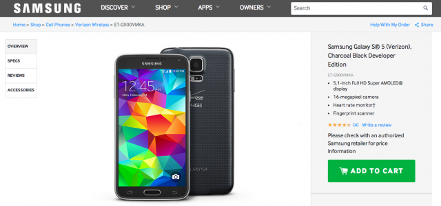 Verizon Samsung Galaxy S5 Developer Edition