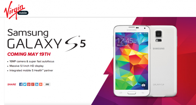 Virgin Mobile Galaxy S5 landing page