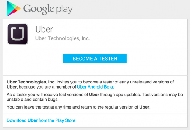 android uber beta