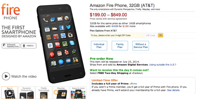 Amazon Fire Phone listing