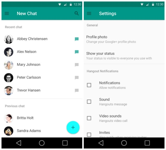 Android L Material Hangouts