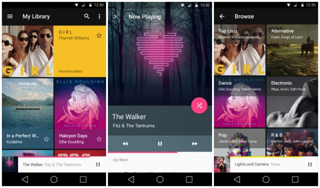 Android L Material Play Music