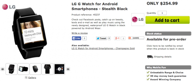 LG G Watch listing US