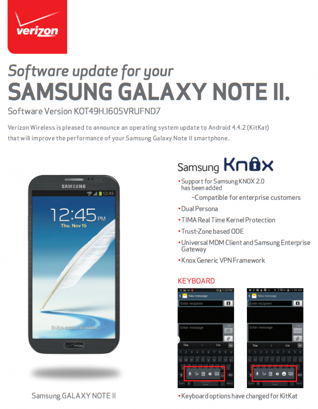 Samsung Galaxy Note 2 KitKat Verizon Wireless 1