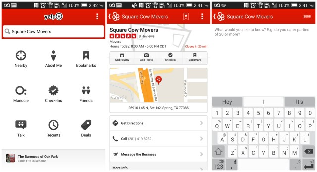 Yelp direct messaging update