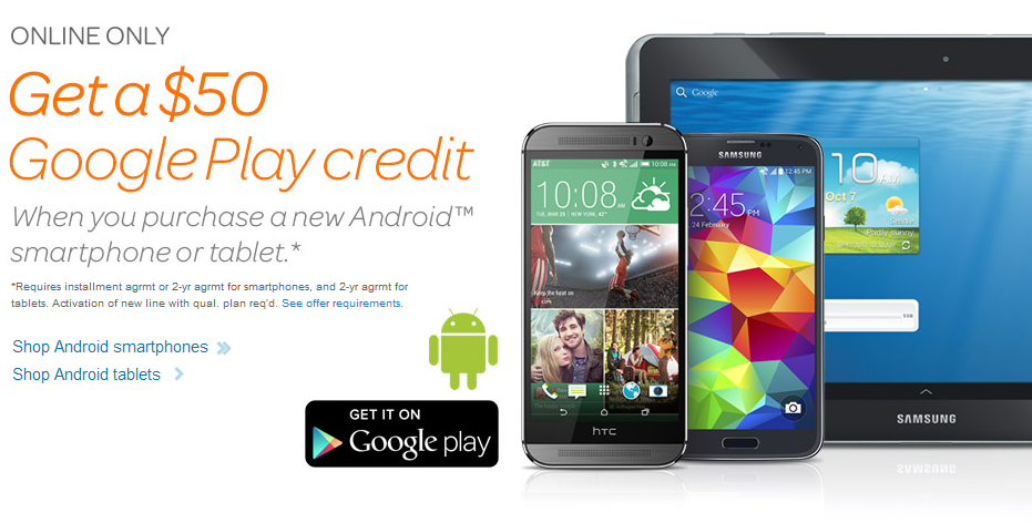 AT&T giving $50 Google Play gift cards with new Android devices