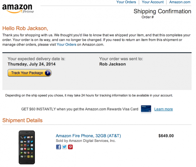 Amazon Fire Phone shipping confirmation