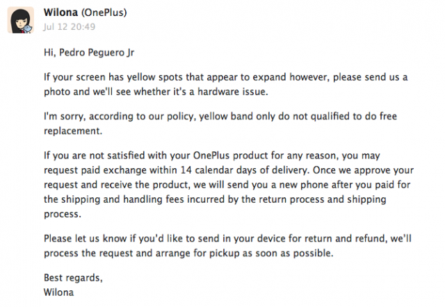 OnePlus One customer service yellow band issue