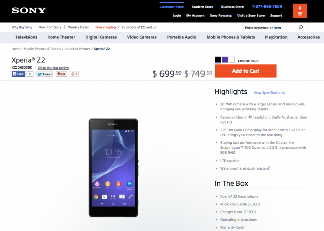 Sony Xperia Z2 now available D6503