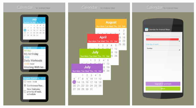 android wear calendar stitched